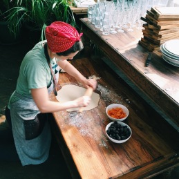 Olia rolling the dough for her gorgeous vareniki with fresh blackberries and apricots