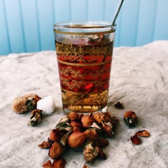 Beautifully fragrant rose petals tea